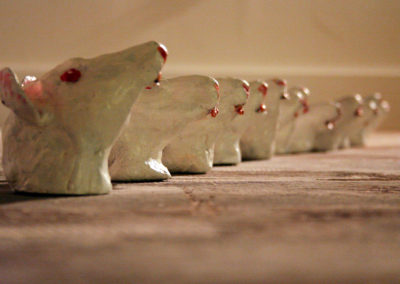 Ratz, 2007 Painted clay sculptures, 6 x 4 in.